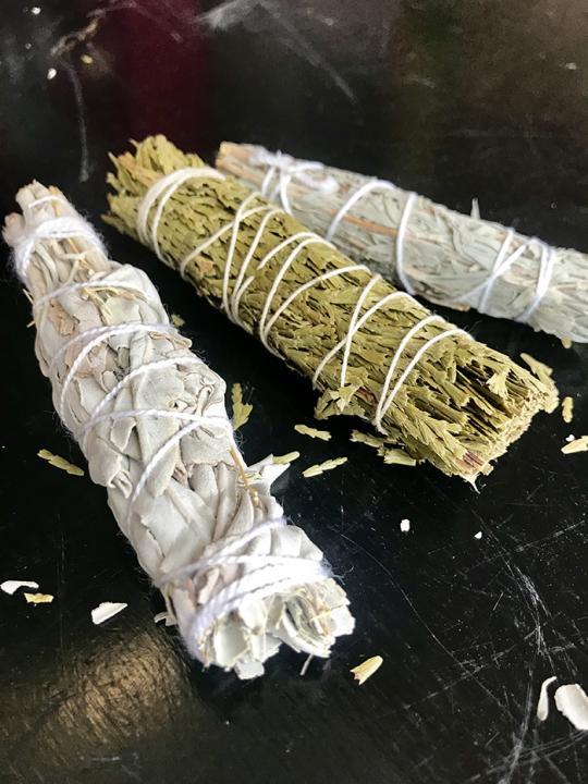 Cedar, White & Blue Sage, 3-pack smudge bundle
